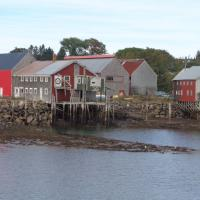 Grand Manan Island buildings on stilts at low tide