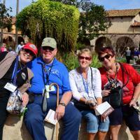 Kathryn, George, Jill & Joan at the Sun Juan Capistrano Mission