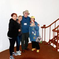 Joan, Jill, Dave & Kathryn inside Piedras Blancas Lighthouse