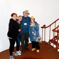 Joan, Jill, Dave & Kathryn inside Piedras Blancas Lighthouse