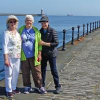 Elinor, Jan and Peggy pose on the Tyne south pier.