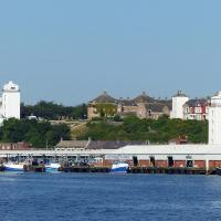 From this vantage point you can see the Fish Quay High, Low and Old lighthouses