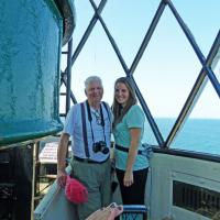 Trinity and Grandpa atop St. Mary's Lighthouse.