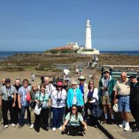 Partial group shot at St. Mary's Lighthouse.