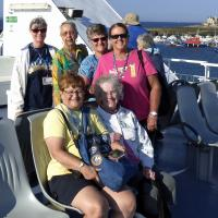 Ladies enjoying the great weather on the way to Belle Ile