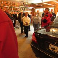 Group listening to host of Long Point Cut Lighthouse