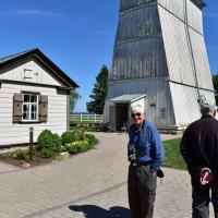 Bob at Suurupi Front Range original wooden lighthouse. Our visit and access to Suurupi was thanks to Bob's Estonian contacts made years ago at the U.S. Coastguard Academy.