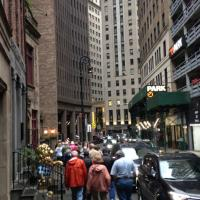 Group making our way through Wall Street, NYC heading to the Statue of Liberty
