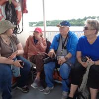 Serious lighthouse talk with Bruce, Mary and a couple of members who joined us for the cruise