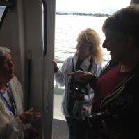 Linda, Glenda and Mary discussing the finer points of lighthouses