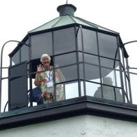 Glenda popping out at the top of the Stony Point Lighthouse