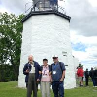 Lawrence, Virginia and Rich waiting to climb the Stony Point Lighthouse