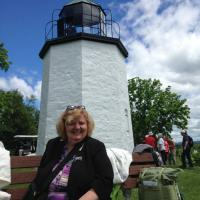 Marianne relaxing on a beautiful day at the Stony Point Lighthouse