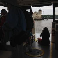 Teri has the best seat in the house as we approach the Rondout Creek Lighthouse