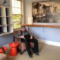 Lawrence taking a rest stop inside the Colchester Reef Lighthouse
