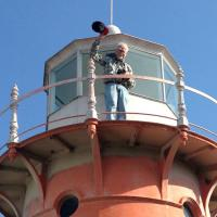Steve all the way at the top of the Isle La Motte Lighthouse - not too big of a climb