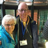Ken & Dianne inside a lens at Souter.