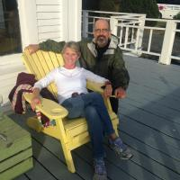 Our tour leaders Chris and Henry enjoying a sunset at the Marathon Inn on Grand Manan Island.