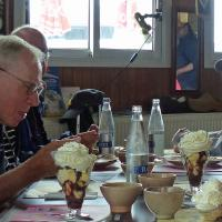 Several folks has a nutritious lunch in Aber Wrach comprised exclusively of ice cream.  Derrith managed to consume two banana splits before our ferry ride.