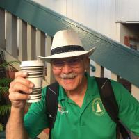 Jerry enjoying the Maui coffee