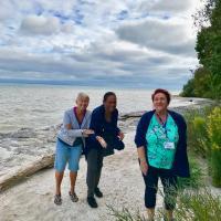 Jill, Sheila and Joan having fun on the beach