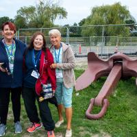 Joan, Kathryn and Jill by anchor from the Edmund Fitzgerald