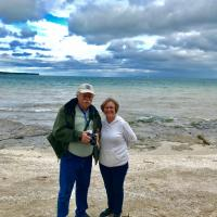 Ken and Sally at the beach with Mohawk Lighthouse in the distance