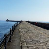 The long (about 1 mile) walk to the Tyne South Pier Light.