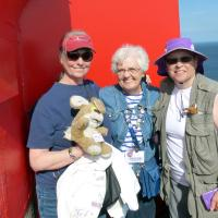 Mary Lee, Dianne & Leann (and Bosley) at the top of St Mathieu Lighthouse