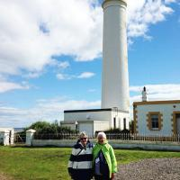 Marcia & Jan pose at Barnes Ness Lighthouse