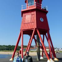 Mary & Phil at the Herd Groyne Light.