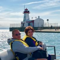 Mike and Kelly on their way to Port Colbourne Inner Lighthouse