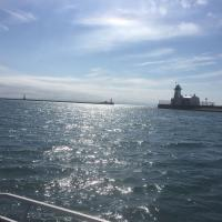 On the boat to Port Colbourne Lighthouses