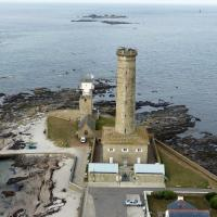 From the top of Phare d'Eckmuhl you see the 1835 tower and the 15th Century Fire Tower of St Peter's Chapel