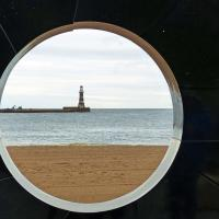 "A view of Rocker Pier lighthouse through the ""eye."""