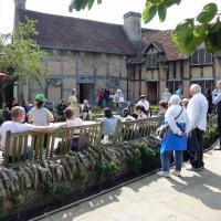 Performance in the garden at Shakespeare's birthplace.