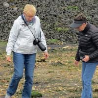 A common sight was Peggy looking for heart shaped rocks - here Shelley lends a hand.