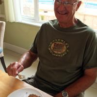 """Every morning we had a """"full American breakfast.""""  For Stan this meant finishing with a piece of cake!"""