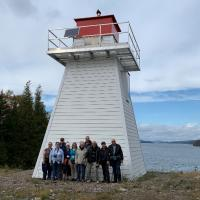 Swift Point Lighthouse and the group that hiked the trail