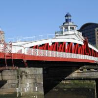 An unusual place for a lighthouse - on top of a swing bridge in Newcastle.