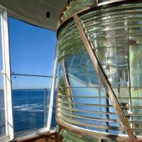Lens and view from the lantern room of Diamond Head Lighthouse