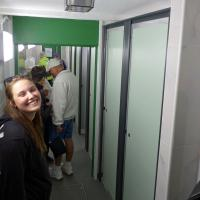 Here is another common sight on the trip - lines for the loo!