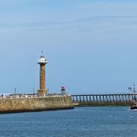 A good shot of all four Whitby Pier Lights.