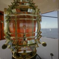 The 4th order fixed Fresnel lens that was in the lighthouse in 1986. It was removed that summer when the lighthouse was automated and replaced with a plastic modern beacon. The lens was relocated to the office of the Commander of what is now known as U.S.C.G. Sector Baltimore, located at Curtis Yard in Baltimore.